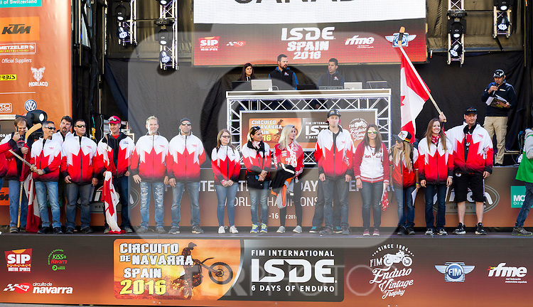 Canada enduro team during the presentation of the FIM international six days of enduro 2016 in Pamplona, Spain. October 09, 2016. (ALTERPHOTOS/Rodrigo Jimenez)