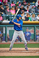 Chesny Young (9) of the Iowa Cubs bats against the Salt Lake Bees in Pacific Coast League action at Smith's Ballpark on May 13, 2017 in Salt Lake City, Utah. Salt Lake defeated Iowa  5-4. (Stephen Smith/Four Seam Images)