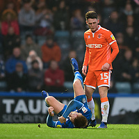 Blackpool's Jordan Thompson reacts to a challenge from Rochdale's Callum Camps which resulted in a red card for the Blackpool player<br /> <br /> Photographer Chris Vaughan/CameraSport<br /> <br /> The EFL Sky Bet League One - Rochdale v Blackpool - Wednesday 26th December 2018 - Spotland Stadium - Rochdale<br /> <br /> World Copyright &copy; 2018 CameraSport. All rights reserved. 43 Linden Ave. Countesthorpe. Leicester. England. LE8 5PG - Tel: +44 (0) 116 277 4147 - admin@camerasport.com - www.camerasport.com