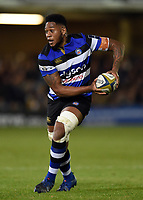 Levi Douglas of Bath Rugby looks to pass the ball. Anglo-Welsh Cup match, between Bath Rugby and Leicester Tigers on November 10, 2017 at the Recreation Ground in Bath, England. Photo by: Patrick Khachfe / Onside Images