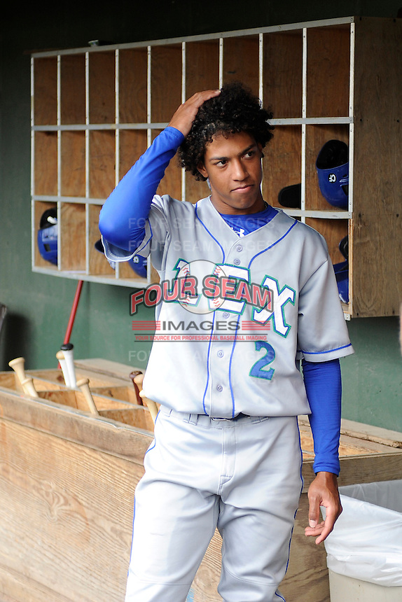 Shortstop Raul Adalberto Mondesi (2) of the Lexington Legends waits by the bat rack in the dugout before a game against the Greenville Drive on Sunday, July 21, 2013, at Fluor Field at the West End in Greenville, South Carolina. Mondesi is the No. 5 prospect of the Kansas City Royals. Lexington won, 2-0. (Tom Priddy/Four Seam Images)