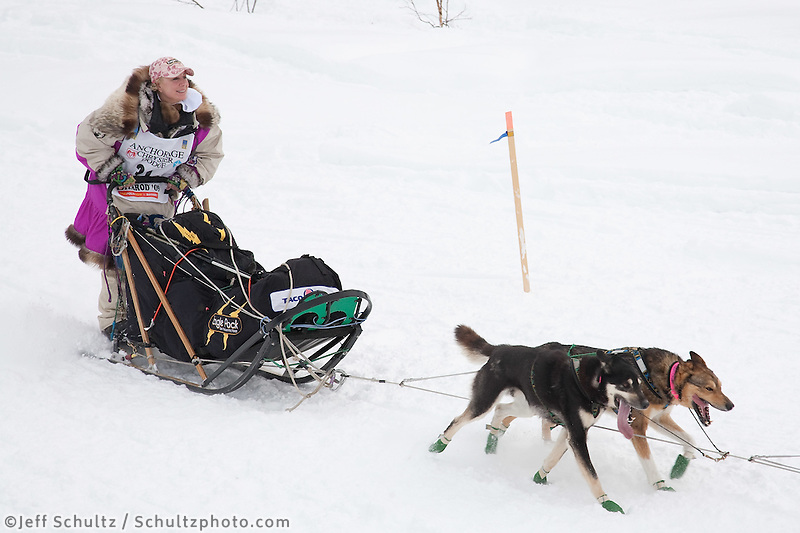 Musher # 31 DeeDee Jonrowe at the Restart of the 2009 Iditarod in Willow Alaska.