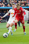 05.10.2019, BayArena, Leverkusen, GER, 1. FBL, Bayer 04 Leverkusen vs. RB Leipzig,<br />  <br /> DFL regulations prohibit any use of photographs as image sequences and/or quasi-video<br /> <br /> im Bild / picture shows: <br /> Mitchell Weiser (Leverkusen #23), im Zweikampf gegen  Timo Werner (RB Leipzig #11), <br /> <br /> Foto © nordphoto / Meuter