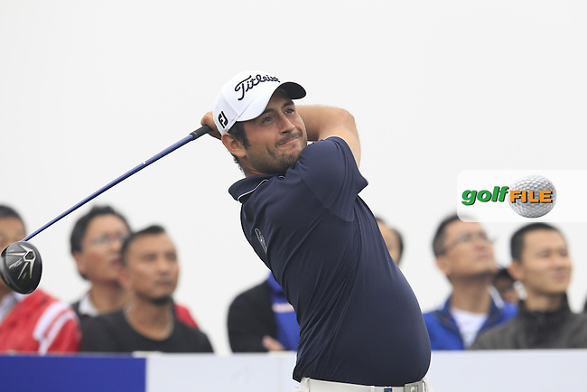 Alexander Levy (FRA) tees off the 15th tee during Saturay's Round 3 of the 2014 BMW Masters held at Lake Malaren, Shanghai, China. 1st November 2014.<br /> Picture: Eoin Clarke www.golffile.ie