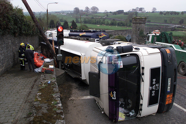 The scene of the latest Truck on the Bridge in Slane Co Meath. the Lorry carring a full load of Road Diesel 47,000 litres overturned as it came off the bridge striking and knocking an ESB Pole and coming to rest on the oposit side of the road at the traffic lights..Pic Fran Caffrey Newsfile.©Newsfile Ltd.