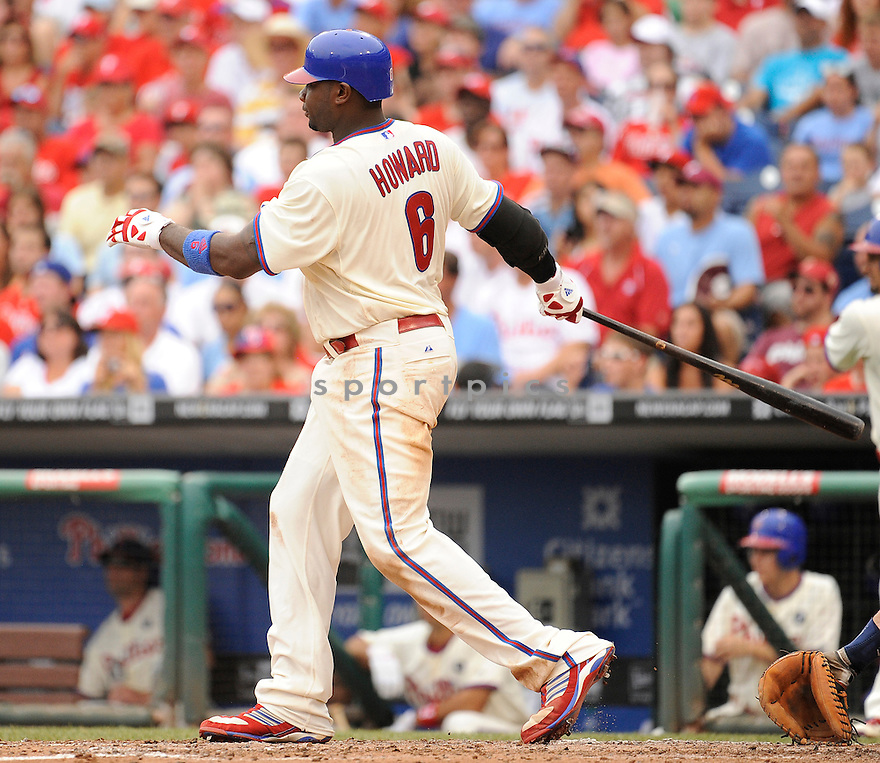 RYAN HOWARD, of the Philadelphia Phillies, in action during the Phillies game against the San Diego Padres on July 25,2011 at Citizens Bank Park in Philadelphia, Pennsylvania. The Padres beat the Phillies 5-4.