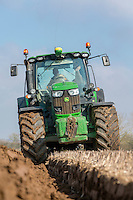 Spring ploughing overwinter stubble for spring barley - Norfolk, March