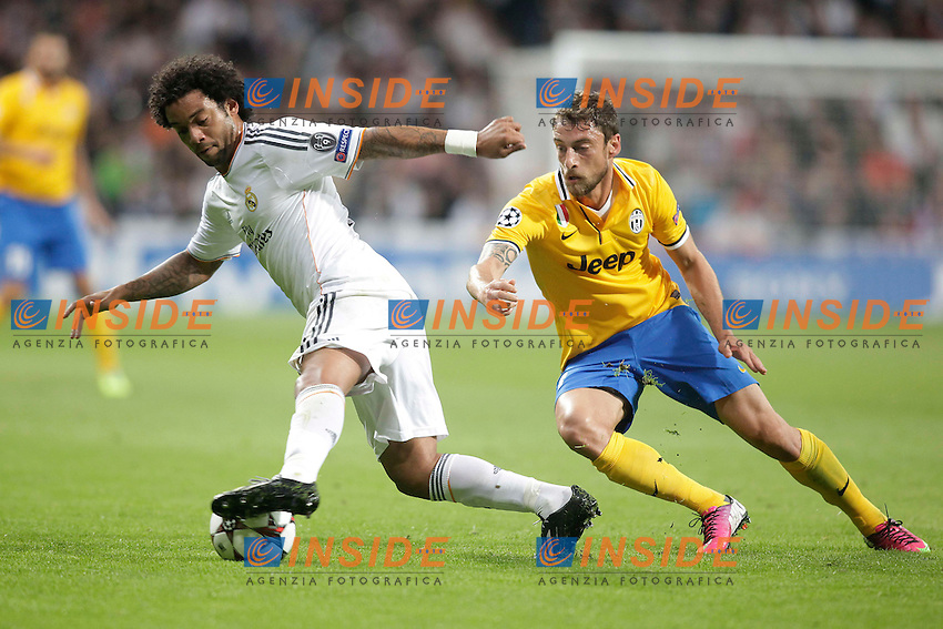 Real Madrid&acute;s Marcelo (L) and  Marchisio during Champions League 2013-14 match in Bernabeu stadium, Madrid. October 23, 2013. (ALTERPHOTOS/Victor Blanco) <br /> Real Madrid - Juventus <br /> Foto Insidefoto <br /> ITALY ONLY