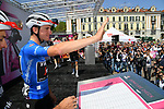 Maglia Azzurra Giulio Ciccone (ITA) and Trek-Segafredo at sign on before the start of Stage 12 of the 2019 Giro d'Italia, running 158km from Cuneo to Pinerolo, Italy. 23rd May 2019<br /> Picture: Gian Mattia D'Alberto/LaPresse | Cyclefile<br /> <br /> All photos usage must carry mandatory copyright credit (© Cyclefile | Gian Mattia D'Alberto/LaPresse)