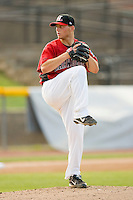 Starting pitcher Robert Erlin #27 of the Hickory Crawdads in action against the Rome Braves at  L.P. Frans Stadium May 23, 2010, in Hickory, North Carolina.  The Rome Braves defeated the Hickory Crawdads 5-1.  Photo by Brian Westerholt / Four Seam Images