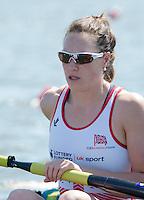 Brandenburg. GERMANY. GBR W8+. Karen BENNETT, 2016 European Rowing Championships at the Regattastrecke Beetzsee<br /> <br /> Friday  06/05/2016<br /> <br /> [Mandatory Credit; Peter SPURRIER/Intersport-images]