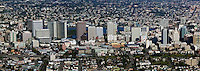 Panoramic aerial photograph of the Oakland, California skyline. This panoramic aerial of Oakland has a resolution of 7163 pixels across.