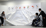 April 8, 2016, Tokyo, Japan - Tokyo2020 emblem selection committee members (L-R) Ai Sugiyama of professionbal tennis player, Aki taguchi of a Paralympiuan and Ryohei Miyata of Tokyo University of Arts president unveil four candidate designs of Tokyo2020 Olympic and Paralympic Games emblems in Tokyo on Friday, April 8, 2016. The committee will decide the final design from the 14,599 entry designs on April 25.  (Photo by Yoshio Tsunoda/AFLO) LWX -ytd-