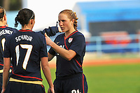 Rachel Buehler (R) discusses defensive strategy with Meghan Schnur. The USWNT defeated Iceland (2-0) at Vila Real Sto. Antonio in their opener of the 2010 Algarve Cup on February 24, 2010.