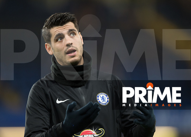 Álvaro Morata of Chelsea warms up during the FA Cup 5th round match between Chelsea and Hull City at Stamford Bridge, London, England on 16 February 2018. Photo by Vince  Mignott / PRiME Media Images.