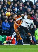 9th February 2019, Pride Park, Derby, England; EFL Championship football, Derby Country versus Hull City; Markus Henriksen of Hull City beats Duane Holmes of Derby County to a header