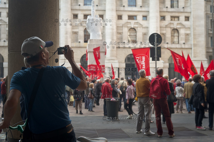 during the presentation of Italy's Tsipras List in Piazza Affari (Milan Stock Exchange) , on April 23, 2014. Photo: Adamo Di Loreto/BuenaVista*Photo