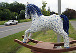 "A view of ""Dinah- The Blue Plate Special"" created by Donna Dittus, on Routes 9W-32 by Sue's Restaurant, one of the ""Rockin' Around Saugerties"" theme Statues on display throughout the Village of Saugerties, NY, on Friday, June 9, 2017. Photo by Jim Peppler. Copyright/Jim Peppler-2017."