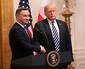 United States President Donald J. Trump and the President of the Republic of Poland  Andrzej Duda hold a news conference at The White House in Washington, DC, September 18, 2018. Credit: Chris Kleponis / CNP