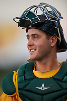 AZL Athletics Gold catcher Cesarre Astorri (22) during an Arizona League game against the AZL Rangers on July 15, 2019 at Hohokam Stadium in Mesa, Arizona. The AZL Athletics Gold defeated the AZL Athletics Gold 9-8 in 11 innings. (Zachary Lucy/Four Seam Images)