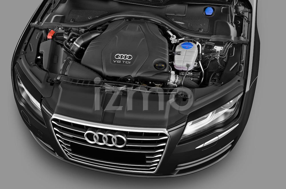 High angle engine detail of a 2013 Audi A7 Hatchback .