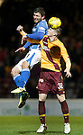 Motherwell v St Johnstone..30.12.15  SPFL  Fir Park, Motherwell<br /> John Sutton gets above Ben Hall<br /> Picture by Graeme Hart.<br /> Copyright Perthshire Picture Agency<br /> Tel: 01738 623350  Mobile: 07990 594431