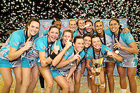 11.07.2010 Thunderbirds celebrate winning the ANZ Champs Final netball match between the Magic and Tunderbirds played at the Adelaide Entertainment Centre in Adelaide. ©MBPHOTO/Michael Bradley