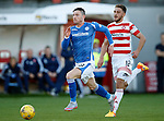 Hamilton Accies v St Johnstone...31.10.15  SPFL  New Douglas Park, Hamilton<br /> Michael O'Halloran gets away from Gramoz Kurtaj<br /> Picture by Graeme Hart.<br /> Copyright Perthshire Picture Agency<br /> Tel: 01738 623350  Mobile: 07990 594431