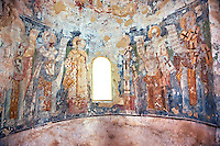 Byzantine fresco of the church of  Saint Nicolas.   Mystras ,  Sparta, the Peloponnese, Greece. A UNESCO World Heritage Site
