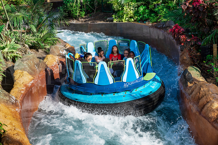 AquaFalls water ride at Seaworld, Orlando, Florida, USA.