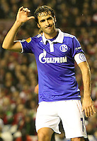 5.04.2012 Bilbao, Spain. Uefa Europa League. Picture show Raul Gonzalez  after scoring during match between Athletic Club against Shalke 04 at San Mames stadium
