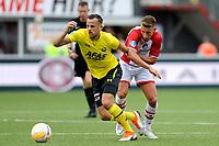 EMMEN - Voetbal, FC Emmen - AZ, De  Oude Meerdijk, Eredivisie, seizoen 2018-2019, 19-08-2018,  FC Emmen speler Glenn Bijl met AZ speler Mats Seuntjes