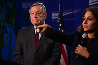Washington, DC - January 24, 2017: U.S. Senator Richard Durbin (D-IL) waits for a question during a forum about Russian influence and interference in the 2016 presidential election at the Center for American Progress in the District of Columbia, January 24, 2017, as CAP president Neera Tanden moderated the session.  (Photo by Don Baxter/Media Images International)