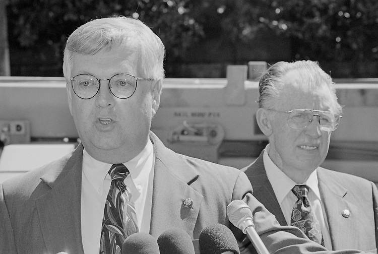 Congressman at a press conference during defense press briefing in April, 1998. (Photo by Rebecca Roth/CQ Roll Call via Getty Images)