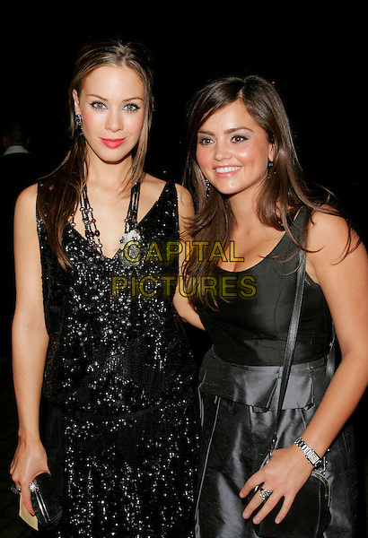 ROXANNE McKEE & JENNA-LOUISE COLEMAN.The National Television Awards afterparty, London, England..October 31st, 2007.TV NTA half length black black dress blue satin emmerdale t-bar shoes sparkly clutch bag purse beads beaded .CAP/AH.© Adam Houghton/Capital Pictures