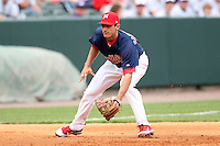 Memphis Redbirds third baseman Matt Carpenter #12 during a game versus the Round Rock Express at Autozone Park on April 30, 2011 in Memphis, Tennessee.  Memphis defeated Round Rock by the score of 10-7.  Photo By Mike Janes/Four Seam Images