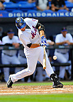 28 February 2011: New York Mets catcher Mike Nickeas in action during a Spring Training game against the Washington Nationals at Digital Domain Park in Port St. Lucie, Florida. The Nationals defeated the Mets 9-3 in Grapefruit League action. Mandatory Credit: Ed Wolfstein Photo
