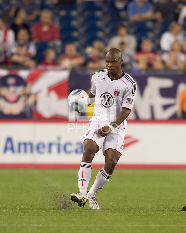 DC United defender Julius James (2) passes the ball. The New England Revolution defeated DC United, 1-0, at Gillette Stadium on August 7, 2010.