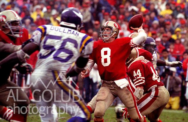 San Francisco 49ers vs  Minnesota Vikings  at Candlestick Park Saturday, January 9, 1988.. Vikings beat 49ers 36-24..San Francisco 49ers Quarterback Steve Young (8)..