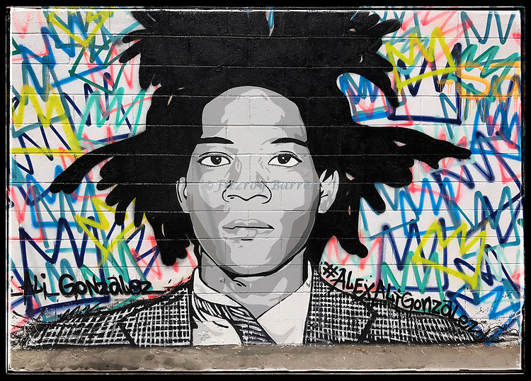 A great mural of Jean Michel Basquiat, by street artist Alex Ali Gonzalez, located in the art district of down town LA. July 22, 2017. ©Fitzroy Barrett