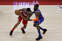 17th January 2019, The O2 Arena, London, England; NBA London Game, Washington Wizards versus New York Knicks; Bradley Beal of the Washington Wizards is guarded by Tim Hardaway Jr of the New York Knicks