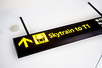 Skytrain Sign at Changi International Airport, Singapore. The Skytrain is a free transport service provided to get between teh terminals at Changi International Airport.