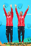 Yukiko Inui &amp; Risako Mitsui (JPN), <br /> AUGUST 16, 2016 - Synchronized Swimming : <br /> Duets Medal Ceremony <br /> at Maria Lenk Aquatic Centre <br /> during the Rio 2016 Olympic Games in Rio de Janeiro, Brazil. <br /> (Photo by Yohei Osada/AFLO SPORT)