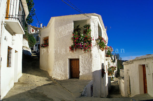 Streets of Alpujarran village of Capileira, South Sierra Nevada, Granada Area, Andalusia, Spain, AGPix_0124.
