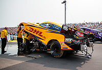 Aug 17, 2018; Brainerd, MN, USA; NHRA funny car driver J.R. Todd during qualifying for the Lucas Oil Nationals at Brainerd International Raceway. Mandatory Credit: Mark J. Rebilas-USA TODAY Sports
