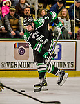 24 October 2015: University of North Dakota Defenseman Tucker Poolman, a Sophomore from East Grand Forks, MN, in first period action against the University of Vermont Catamounts at Gutterson Fieldhouse in Burlington, Vermont. North Dakota defeated the Catamounts 5-2 in the second game of their weekend series. Mandatory Credit: Ed Wolfstein Photo *** RAW (NEF) Image File Available ***