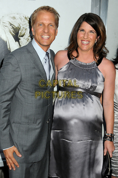 "PATRICK FABIAN & wife MANDY.""The Last Exorcism"" Los Angeles Premiere held at Arclight Cinemas, Hollywood, California, USA, .24th August 2010..half length suit dress pregnant couple husband couple  smiling grey gray tie .CAP/ADM/BP.©Byron Purvis/AdMedia/Capital Pictures."