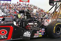 Apr 24, 2015; Baytown, TX, USA; NHRA  top fuel driver Steve Torrence during qualifying for the Spring Nationals at Royal Purple Raceway. Mandatory Credit: Mark J. Rebilas-