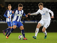 Pictured: Ryan Blair of Swansea (R) Tuesday 28 February 2017<br /> Re: Premier League International Cup, Swansea City U23 v Hertha Berlin II at at the Liberty Stadium, Swansea, UK