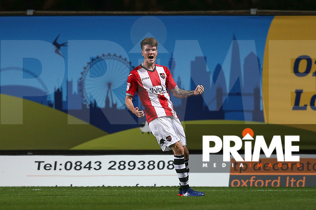 Liam McAlinden of Exeter City celebrates his goal during the The Checkatrade Trophy match between Oxford United and Exeter City at the Kassam Stadium, Oxford, England on 30 August 2016. Photo by Andy Rowland / PRiME Media Images.